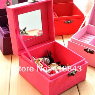 new women European flannel dressing princess jewelry box wooden jewelry cassette lock Korea dressing(China (Mainland))