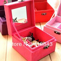 new women European flannel dressing princess jewelry box wooden jewelry cassette lock Korea dressing