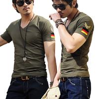 10Colors! Free shipping summer men's shirts fashion short-sleeve shirts slim v-neck fresh T-shirts men plus big size M-3XL
