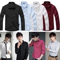 4Colors 2014 spring men's shirt long-sleeve 100%cotton plaid T-shirt men's casual Mens Slim fit Unique neckline stylish M-XXL