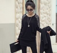 AW2014 Korean version  large size long-sleeved T-shirt stitching Leopard Autumn Ladies blouse bat shirt long sectionS-XXL