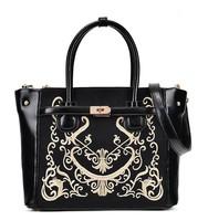 Retro Embroidered Bags Women New Style Shoulder Bag Handbag PU Bag Women Black Portable Messager Bag Free Shipping