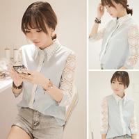 2014 spring basic shirt sweet crochet top cutout lace three quarter sleeve shirt female  Free shipping