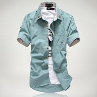 10Colors! Plus Big Size M-3XL Free Shipping! 2014 new style Fashion casual Men's shirt short-sleeve thin slim T-shirts men