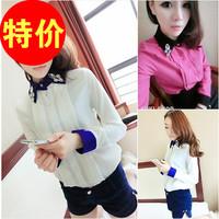Free shipping Small 2014 spring fashion turn-down collar diamond interspersion color block shirt slim long-sleeve shirt female