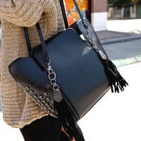 Women's handbag 2013 small tassel bucket bag fashion female skull bag personality rivets one shoulder handbag  Free shipping