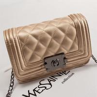 Fashion women's handbag small vintage plaid mini bag one shoulder cross-body women's small bag chain bag  Free shipping