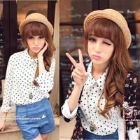 Shirt female 2014 long-sleeve top spring women's polka dot chiffon shirt white shirt basic shirt  Free shipping