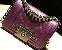 2014 women's spring handbag fashion plaid mini chain bag messenger bag small bags  Free shipping