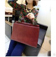 Fashion vintage briefcase female fashion messenger bag brief shaping messenger bag handbag bag  Free shipping