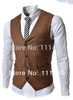 Metal Chain Business XXL Men Vest Slim Fit Vingtage Gentlemen Classic Casual Mens Suits Vests Coats 8.19 Sale New Arrival 2014
