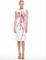 Free shipping 2014 New Arrival Women's O-neck Sleeveless Print Slim Dress Ladies Fashion Dress DX322