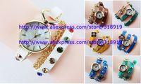 35pcs/lot 2014 flower star style women ladies leather retro quartz watch keychain diamond big crystal  Vintage wrist watches