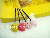 Free Shipping New Kids/Girls/Princess/Baby Cute Dot Cotton Peach Hearts BB hairpins/hair accesories