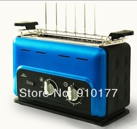 portable stainless steel vertical smokeless household bbq electric grill roaster, bbq for kebab, blue  035
