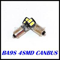 Free shipping 10pcs BA9S CANBUS 4SMD 5630 5730 LED car Interior Bulbs Wedge Lamp Car Indicators Light