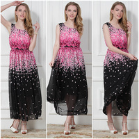 Fashion -5511 Spring & summer 2014 women's top Vest dress Chiffon dress floral girls dress plus size wholesale free shipping