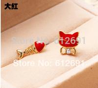 18k plated earring 2015 new cat ear clips charms crystal fish ear cuff fashion earrings wholesale women love jewelry LM-C264