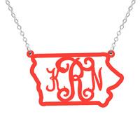 Iowa Necklace - Acrylic monogram necklace - Acrylic State Necklace - State Charm - Map necklace