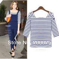 2014 Brand New Summer Women's Striped T-Shirts,Half-Sleeve Blue Basic Blouses Cotton