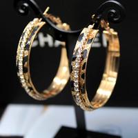 Wild leopard print large hoop earrings fashion gold plated diamond fashion big circle earrings