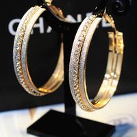 Fashion elegant earrings wild scrub full rhinestone big hoop earrings fashion