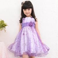 2014 summer children's clothing kid's female child one-piece dress summer child dress princess spaghetti strap tulle dress