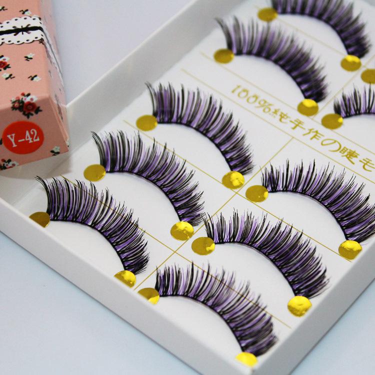 Beauty Bazaar5 Pairs per paper box black false eyelashes handmade lavender purple and white eyelash soft cotton stalk Y-42(China (Mainland))