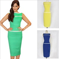 2014 New office women work pencil dress slim Knee-Length sleeveless evening dress 3 colors full size S-XXL  XZS140057