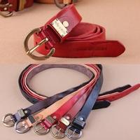Genuine Leather New 2014 Women Designer Brand Vintage Belt 110cm Woman Jeans Strap Red Thin Belts Female Cinto Ceinture WBT0008