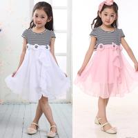 2014 female child summer black and white stripe short-sleeve  one-piece dress child summer chiffon  free shipping