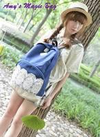 Korean women lady oxford Casual canvas lace backpack girl student school bookbag cotton prints travel walking day bag knapsack