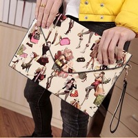 New arrive women clutch pu leather vintage clutch bags women's envelope bag day clutch bag