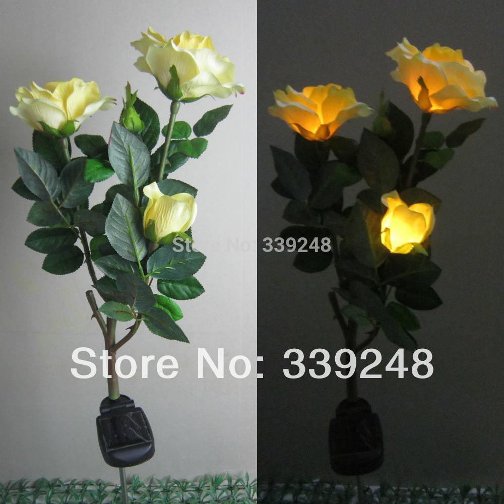 Garden Decorative Solar LED Flower Lights Garden Lawn Light 3 Yellow Rose Day Night Decoration Lamp(China (Mainland))
