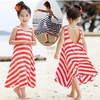 Girls bohemian beach dress girls striped princess dress children's clothing full dresses kids baby red navy blue 2014 New