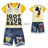2013 hot selling summer clothing sets,Mickey short-sleeve T-shirt jeans+short-sleeve denim capris set,carters car twinset 2014
