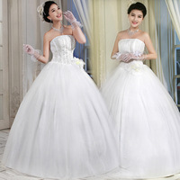 vestido de noiva 2014    vintage fashionable strapless beadings beads appliques   plus size      wedding dress bride dress