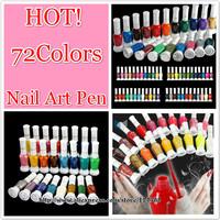 wholesale excellent 72 colours available 2 way nail art polish with brush Flexible Use pen varnish set 72pcs/set free shipping