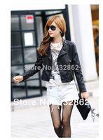 SOPHY / 2014 spring fashion wild Slim Short Collar PU leather jacket women