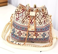 aliexpress hot sale coarse wool Canvas gril shoulder  bag, pearl chain bucket bag , 3color in store free shipping