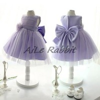 Princess dress girls dress flower bridesmaid dress children dress baby birthday princess tutu bow light purple kids