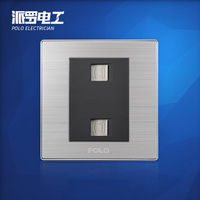 Free Shipping, POLO luxury wall switch panel, Wall Socket Panel, double telephone outlet,Two TEL Socket ,110~250V, 86*86mm