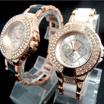 Women dress watches Fashion Rose Gold Tone Crystal Watch Women Ladies Crystal Quartz Dress Watch Wristwatches TW036