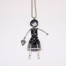 Wholesale unique black dress fashion lovely new 2014 acrylics cloth girls figures necklace & pendant for woman Free shipping