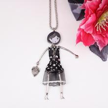 2pcs lot unique black dress fashion lovely new 2014 acrylics cloth girls figures necklace pendant for