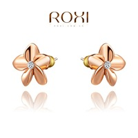 Wholesale ROXI Fashion Accessories Jewelry Gold Plated Austria Crystal Clover Flower Stud Earrings for Women