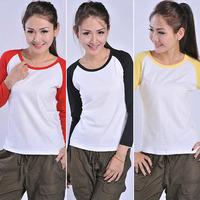 Womens Casual Crew Neck Baseball Raglan T-Shirt Shirts TEE long sleeve splice Fashion New 2014 Summer Hot selling