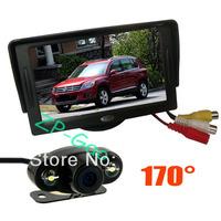 """2 LED IR Reversing Camera 170 Degree Waterproof + 4.3"""" Car LCD Monitor Car Rear View Kit 40/lot"""