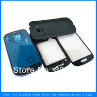 Blue Full Housing Cover Frame Bezel Door Case+Front Outer Screen Glass Lens For Samsung Galaxy S3 mini i8190 Free Shipping