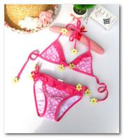 Summer new cute children bikini swimsuits baby girls flowers polka dot split swimwear 2pcs sets kids pink spa beachwear 7051